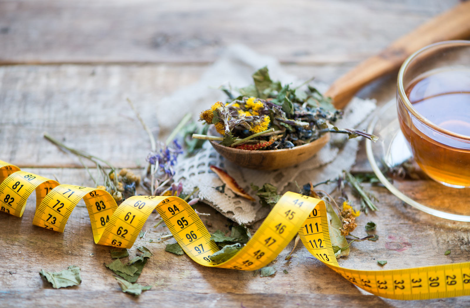 Tea Leaves with Tape Measurement | Does Weight Loss Tea Really Help You Lose Weight?